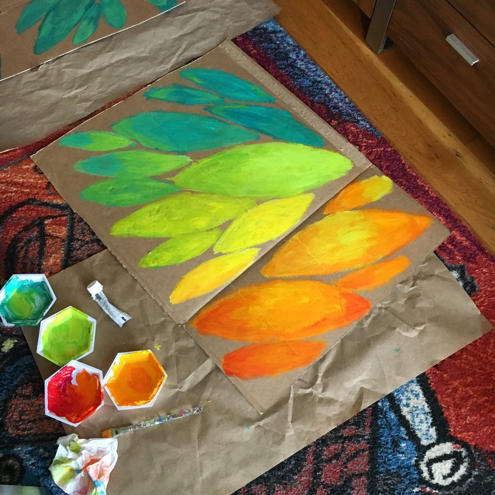 Painting recycled cardboard