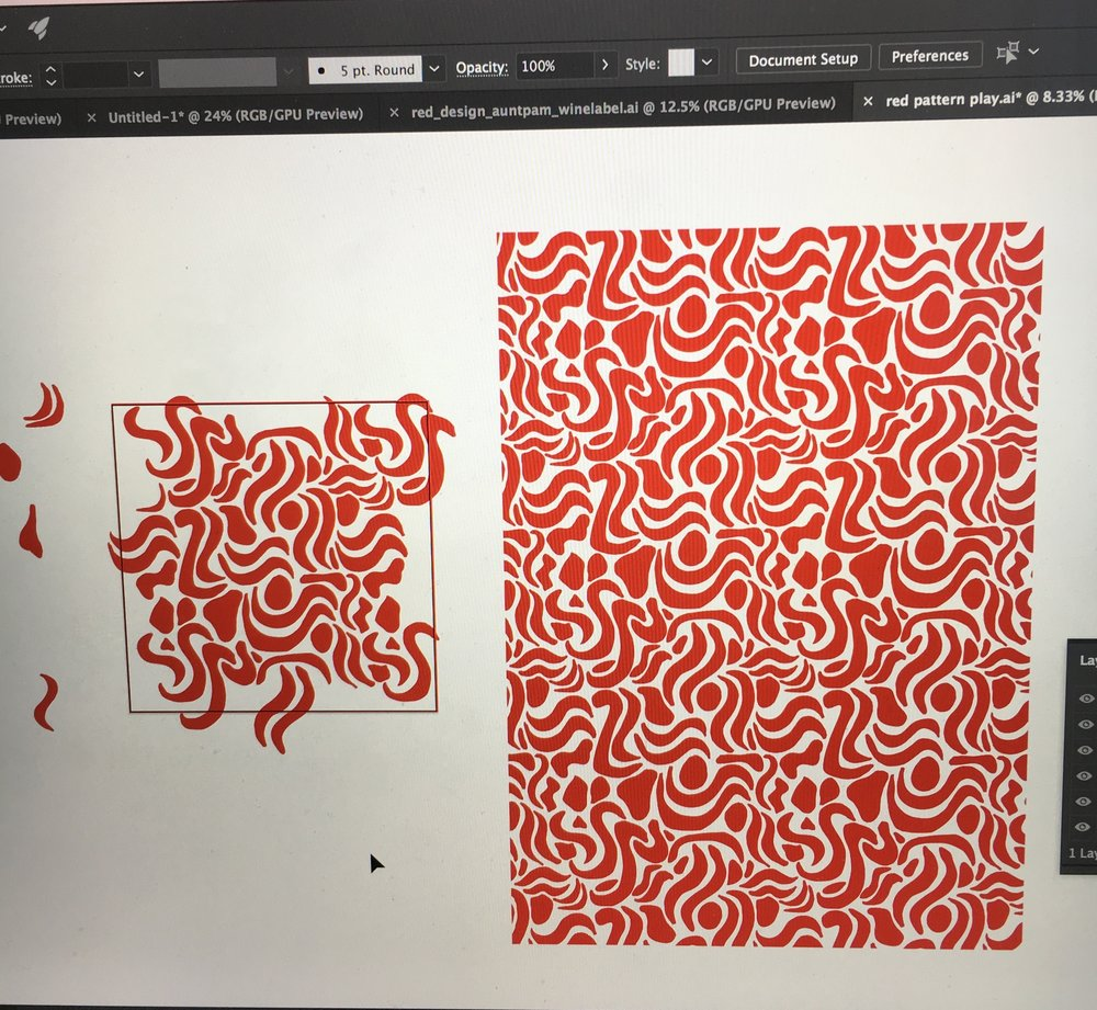 You can see my illustrator art board with the tile and then the full seamless repeat next to it!