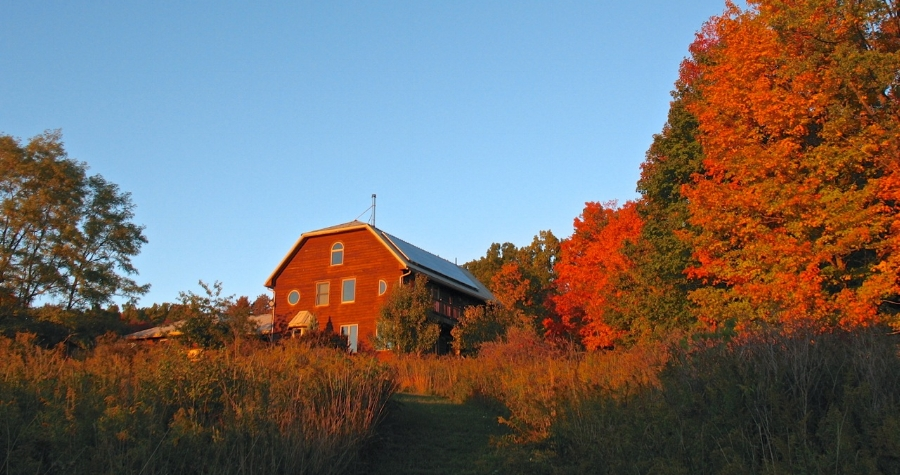 Our solar-powered house, bathed in evening light on an October day
