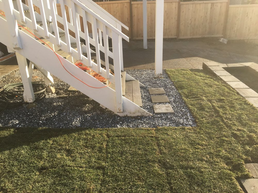New sod and salt/pepper gravel with edging.