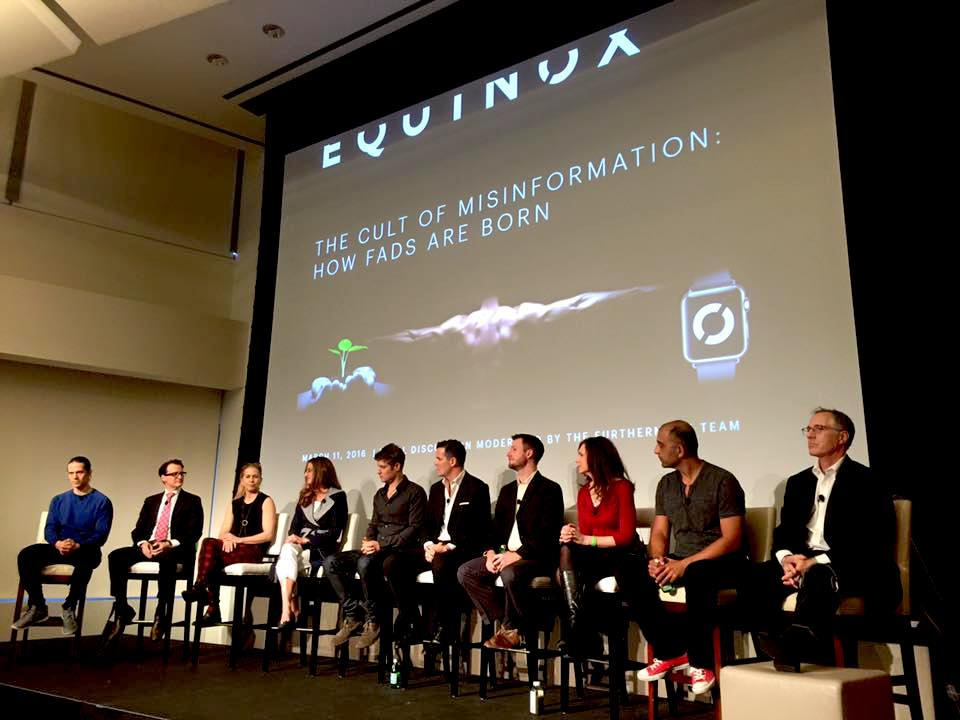 Max (5th from the left) joins a panel of scientists after giving a talk on nutrition and neuroplasticity at Equinox's 2016 High Performance Living Symposium. In the audience were Equinox's award-winning network of trainers