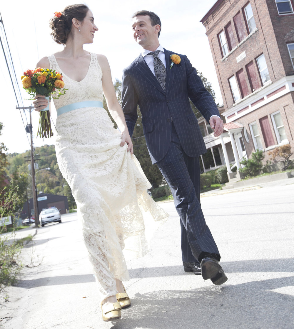 restyled lace wedding gown