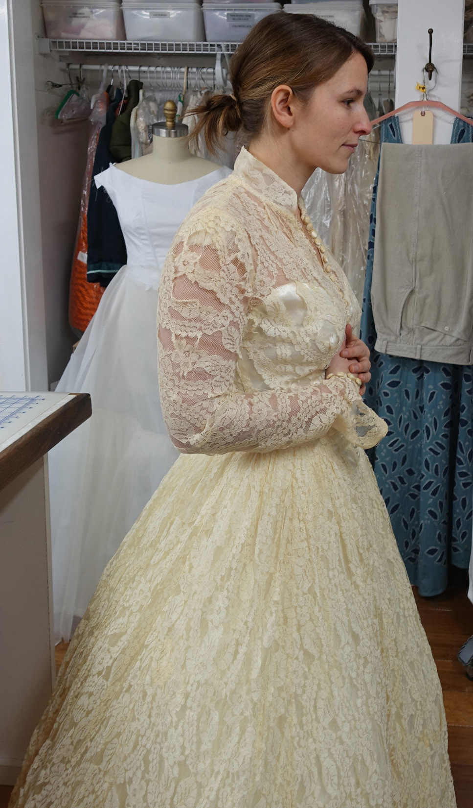 Antique Lace Gown Before Restoration