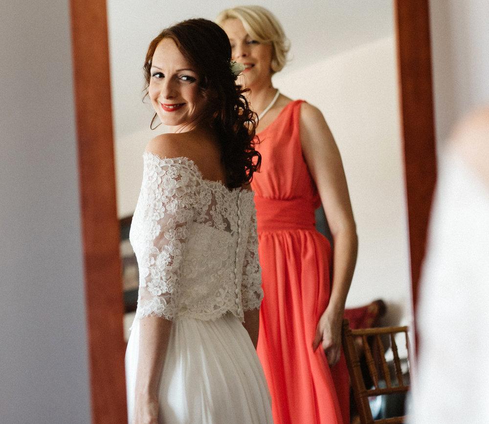 Three-piece wedding dress