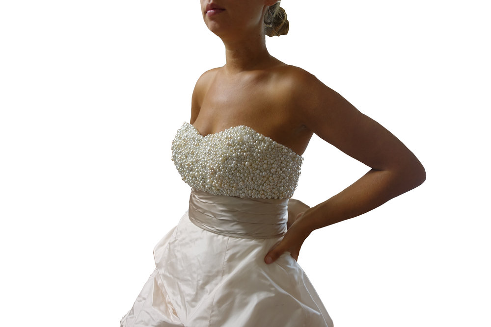 Pearl-Covered Strapless Bodice