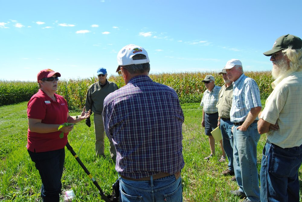 Photo caption: Angie Rieck-Hinz talks with farmers about the benefits of different types of cover crops at a field day at the Northern Research and Demonstration Farm.