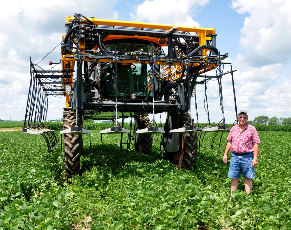 RJ Carson of Marion shows off his new Hagie Mfg. high clearance nitrogen applicator. The ability to apply nitrogen as late as mid-July is a key component in Carson's spring fertilizer plan.