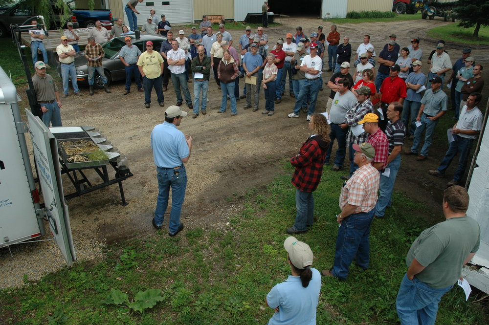 Matthew Helmers has been studying nitrate-N movement to downstream waterbodies since joining Iowa State in 2003. At this field day near Decorah, he demonstrated water transport using the Iowa Learning Farms rainfall simulator. Photo Credit: Charles Wittman