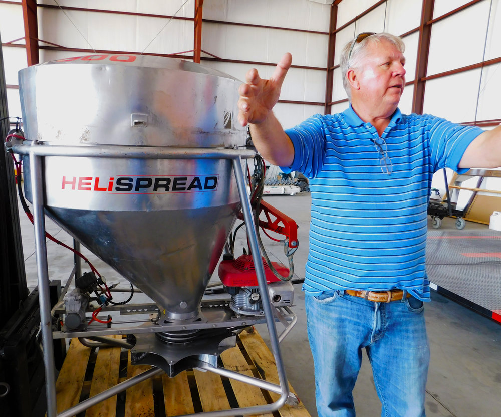 Johnson explain the value of his aerial seeder when it comes to cover crop application.