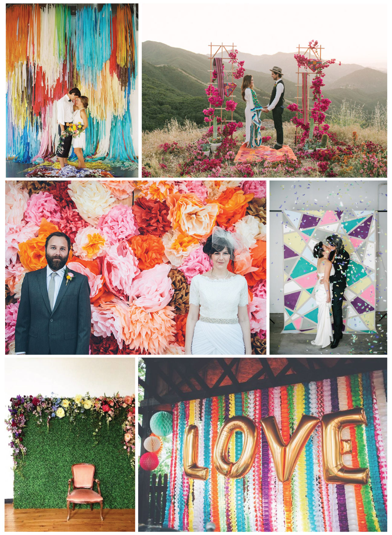 Photo by Ben Q. Photography, Backdrop by The Color Condition / Photo by Farhad Samari / Photo by Caleb John Hill , Via 100 Layer Cake / Photo by Alison Andres Photography / Design by Sullivan Owen / Photo by Papered Heart Photography, Design by Ashton Events