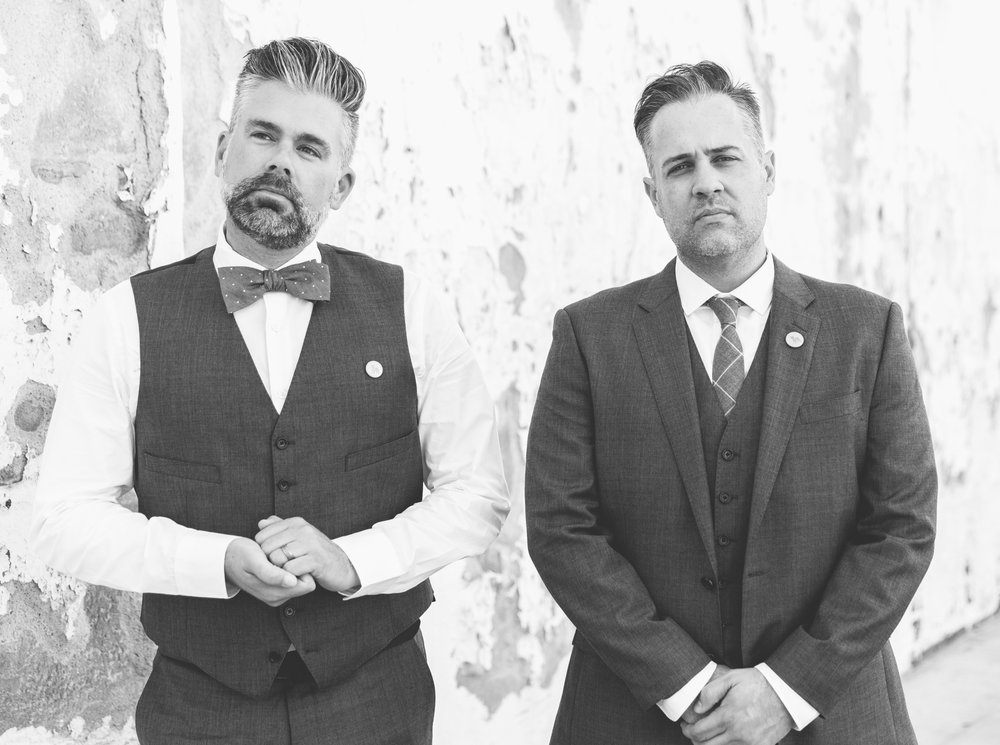 Hosts Jeff Bachman and Matt Barnes being VERY serious at their own personal photo shoot (aka- Matt's wedding).