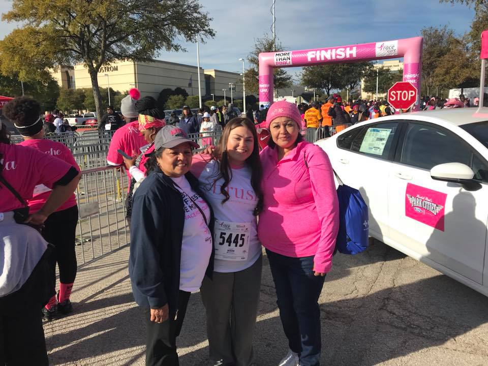Jamie with her daughter's grandmother and great aunt. They lost their mother to breast cancer a few years ago.