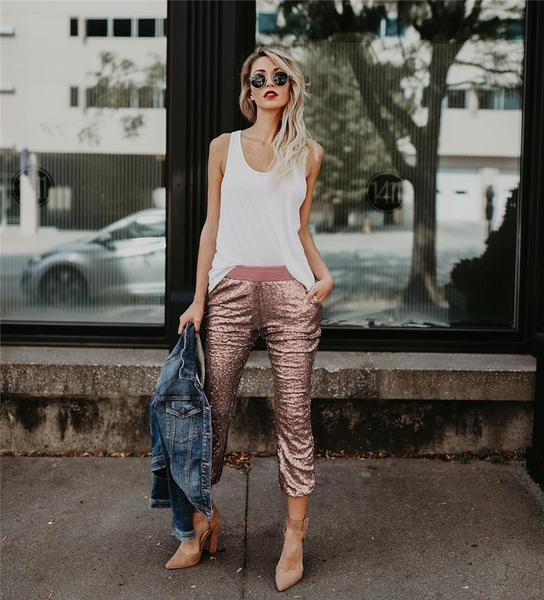 All That Glitters Is Rose Gold Jogger Pants