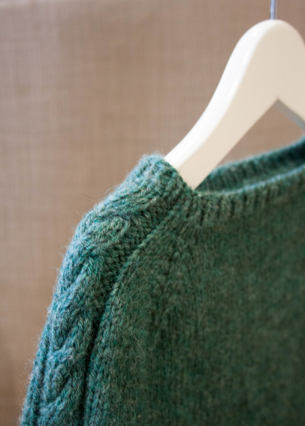 Cable collar to cuff sweater
