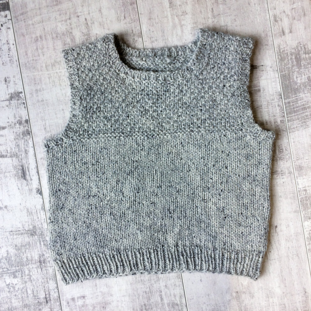 Vest in Light Limestone - Texture looks beautiful with this yarn