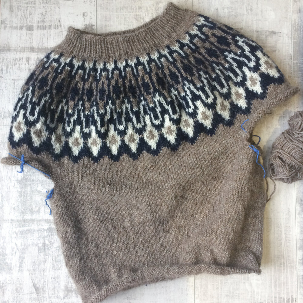 Sweater in progress in Oatmeal, White and Navy