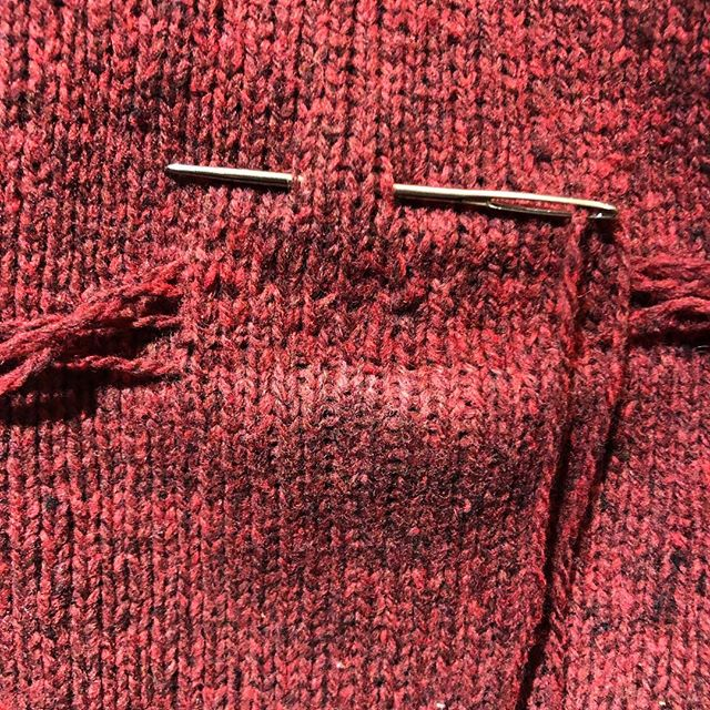 Darning a little hole in the elbow that I promised to take care of for much too long! Thankfully I have more of this wool set aside so I don't need to hunt for a match.  I've used duplicate stitch here to make it as uniform and invisible as possible.  And of course I forgot to take a  before photo!