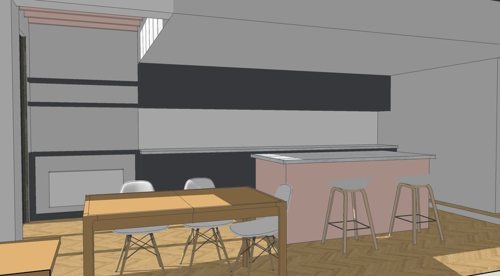 Sketch view of open plan kitchen