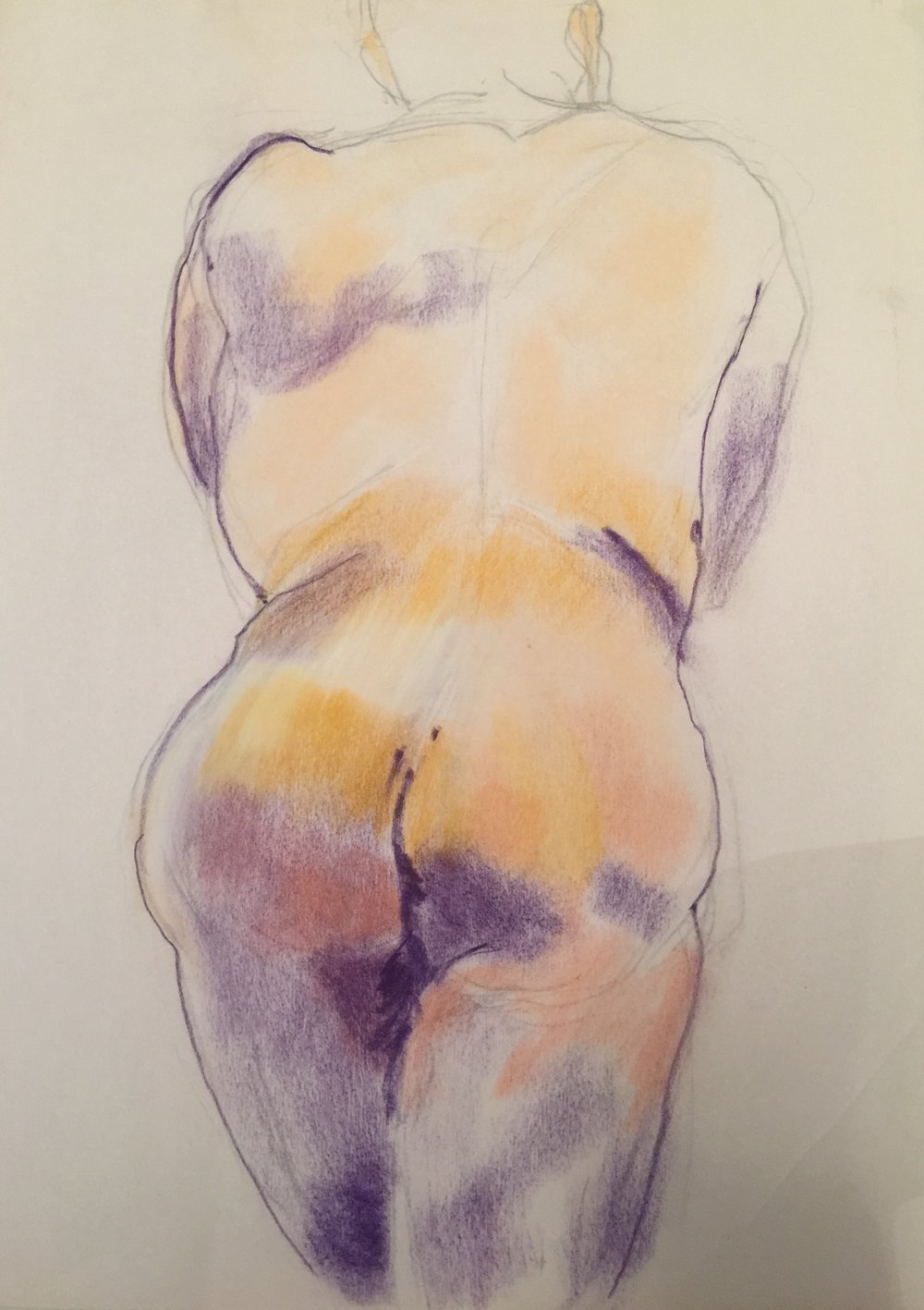 Pastel Figure Study: standing man rear view