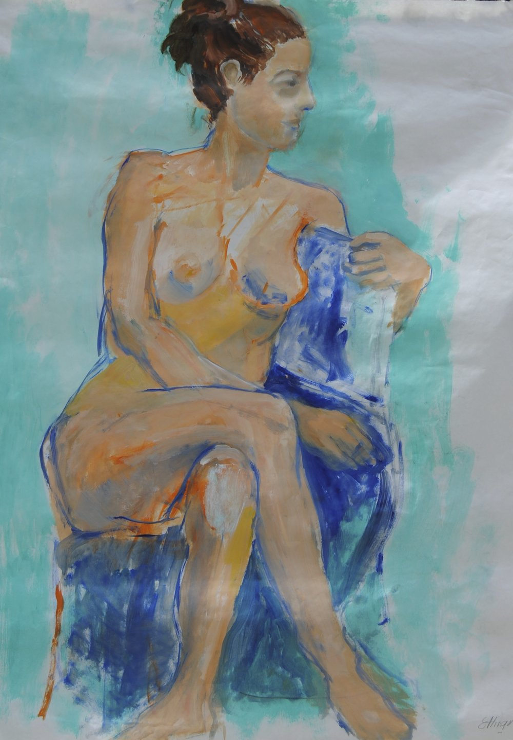 Seated Woman:turquoise background