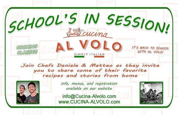Back to school, Al Volo Style!! Info on our website: www.Cucina-AlVolo.com  #backtoschool #cookingclasses