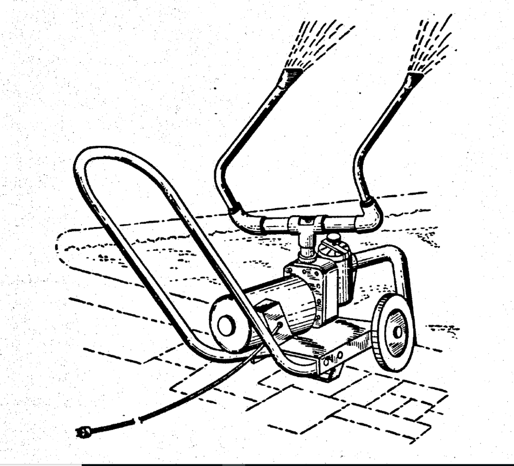 The Original Watercannon - Our original U. S. Patent Office drawing of the Watercannon swimming pool aerator.
