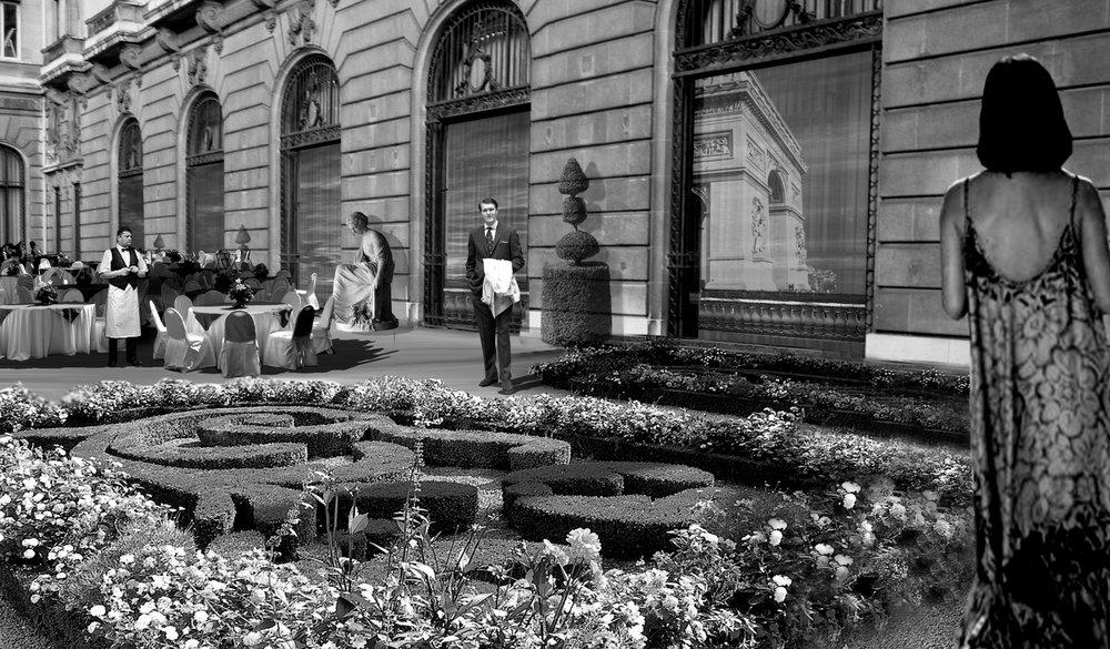 Photoshop Collage Of Formal Garden Courtyard Event Space By Jennifer Di Leonardi
