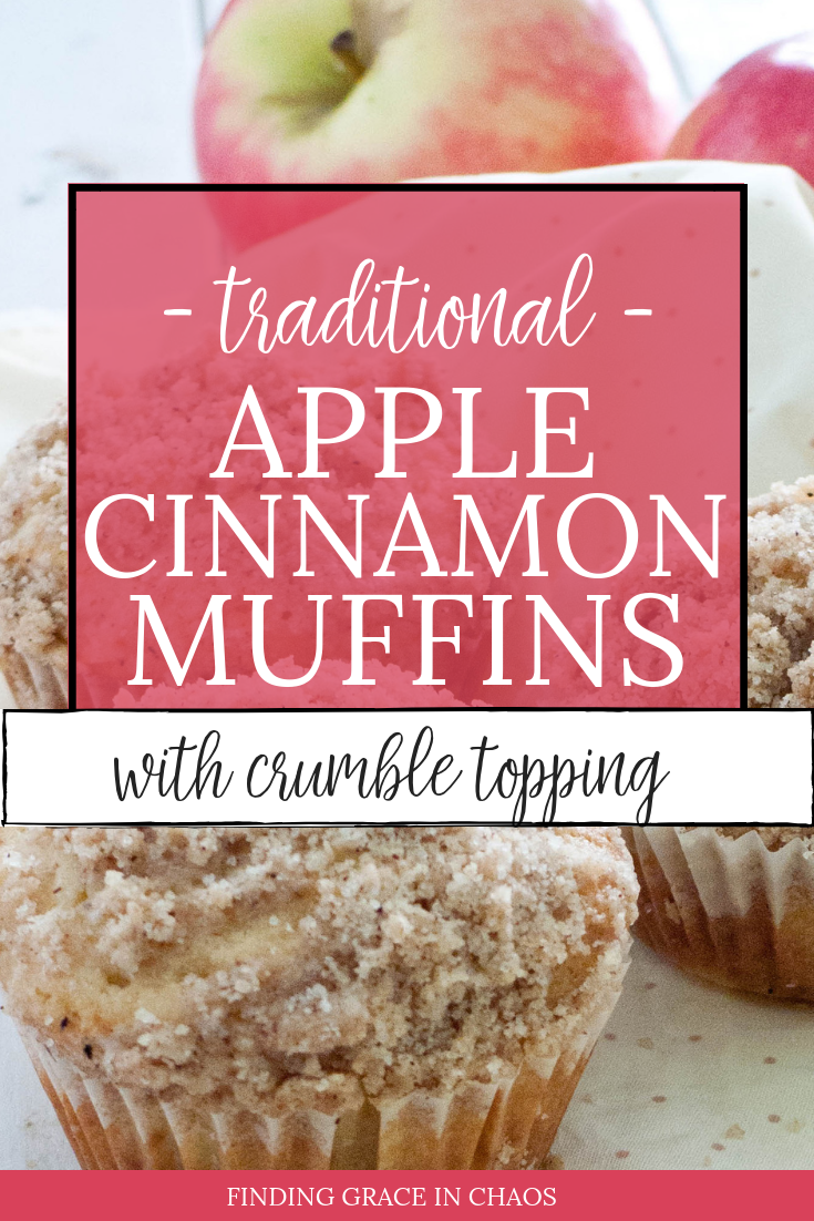 classic apple cinnamon muffins with crumble topping