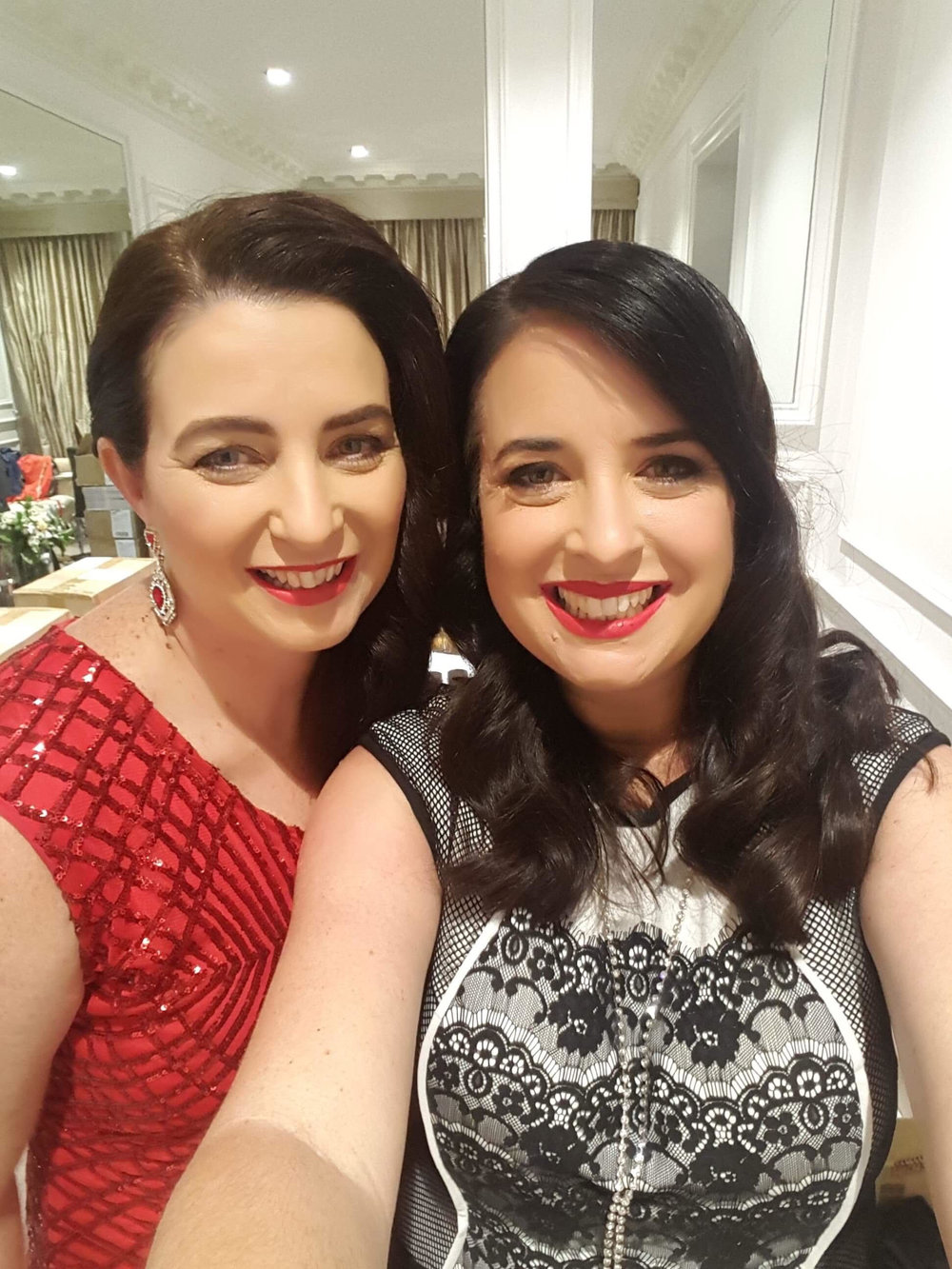 Peace and sister/business partner Katy at Mumspreneur Awards, 2018.