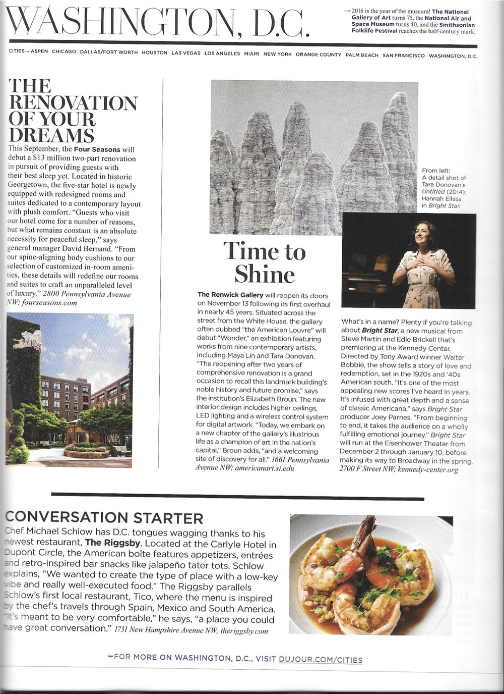 Contributed to winter 2015 issue - DuJour Cities / Washington, D.C.