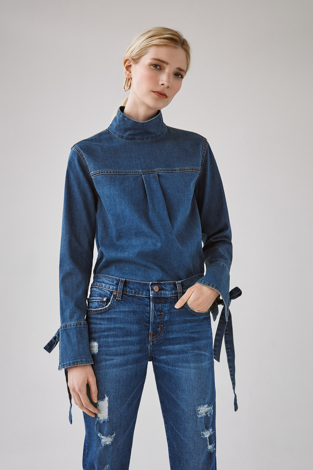 tied cuff denim shirt destroyed slim crop jeans