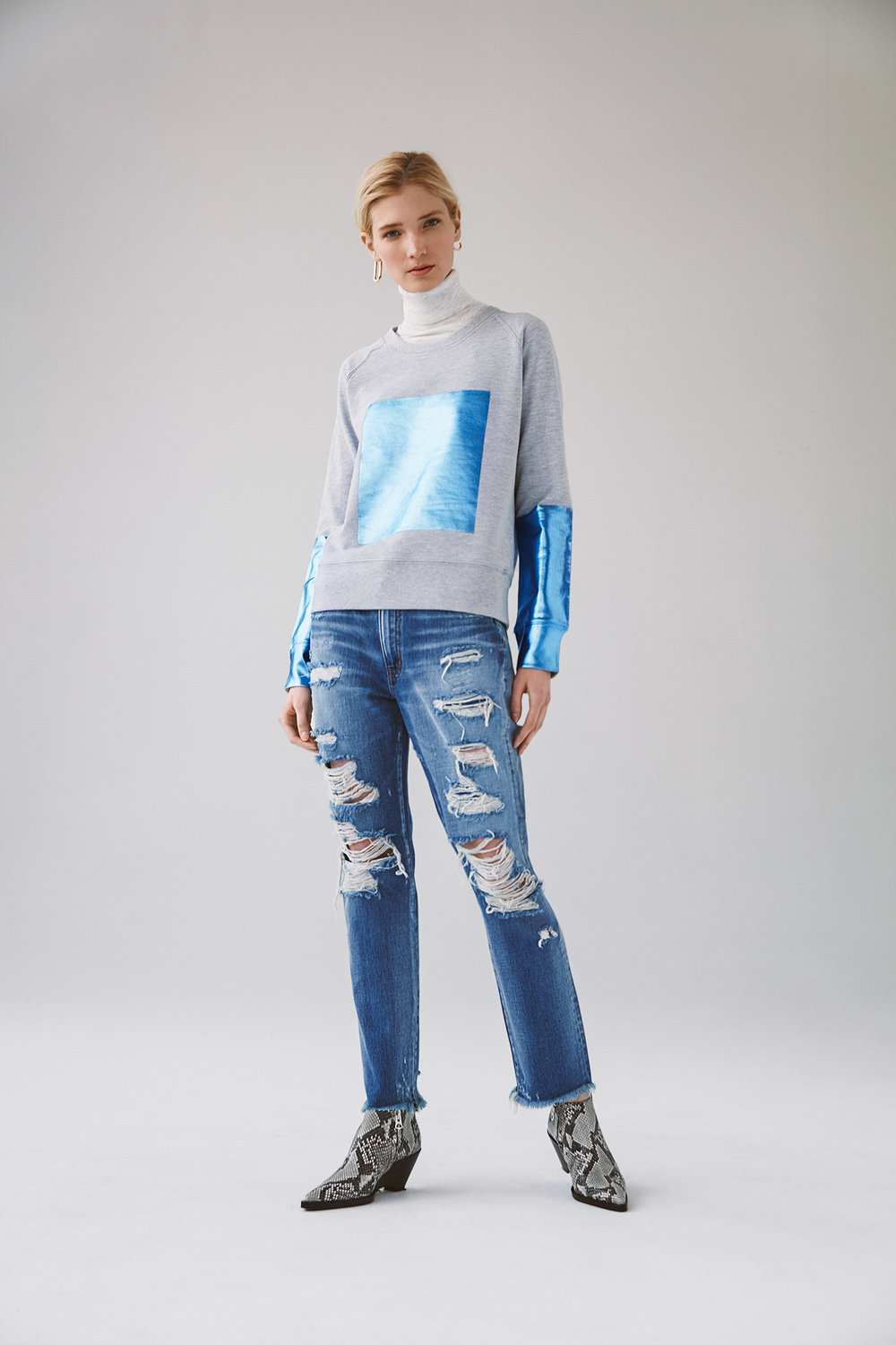 foil block printed fleece top no waistband destroyed jeans
