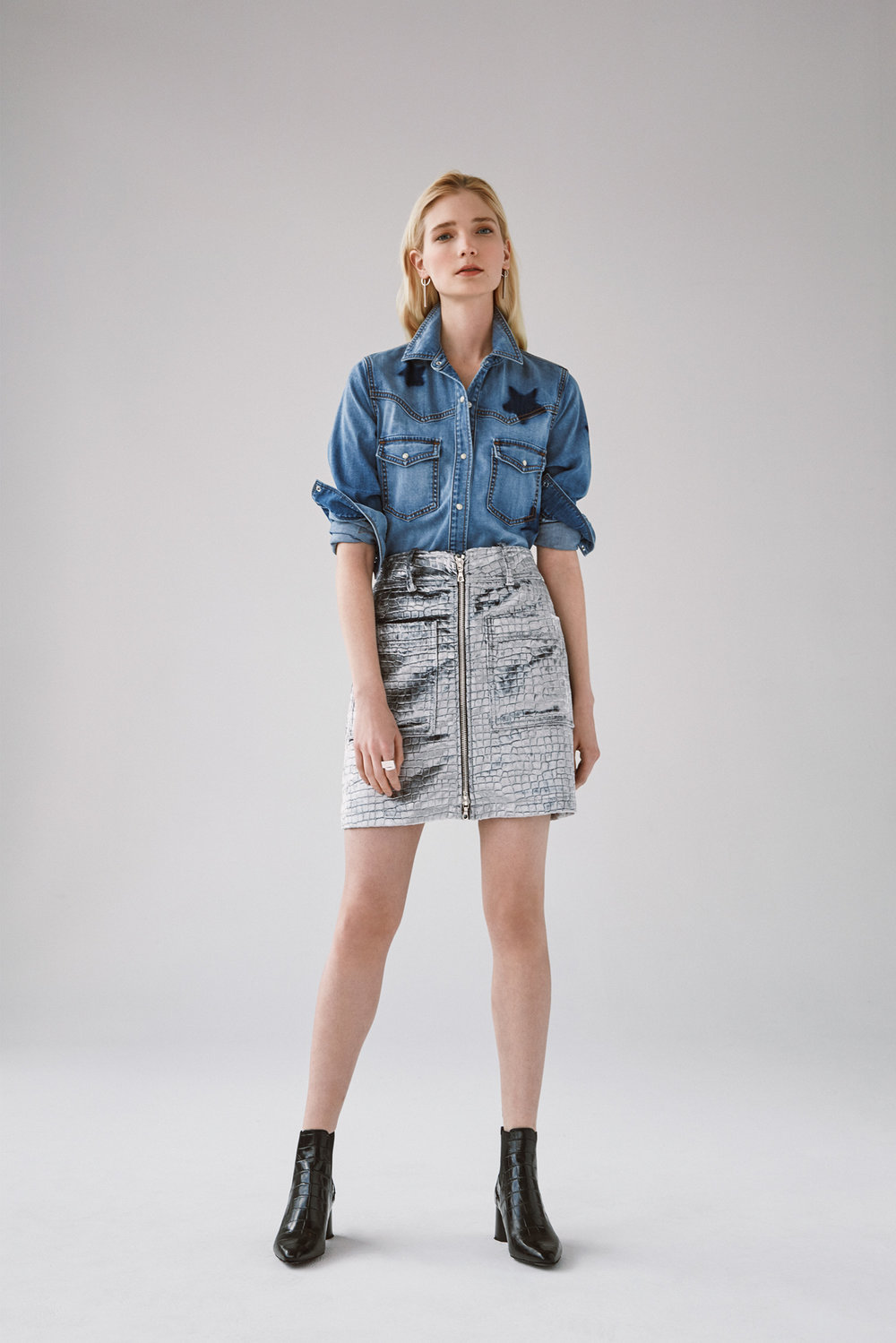 denim button down shirt with star shadow patches croc velvet zip front skirt