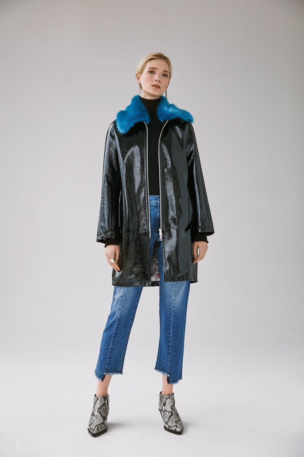 zip front pu raincoat with detachable fur collar uneven hem cropped straight jean