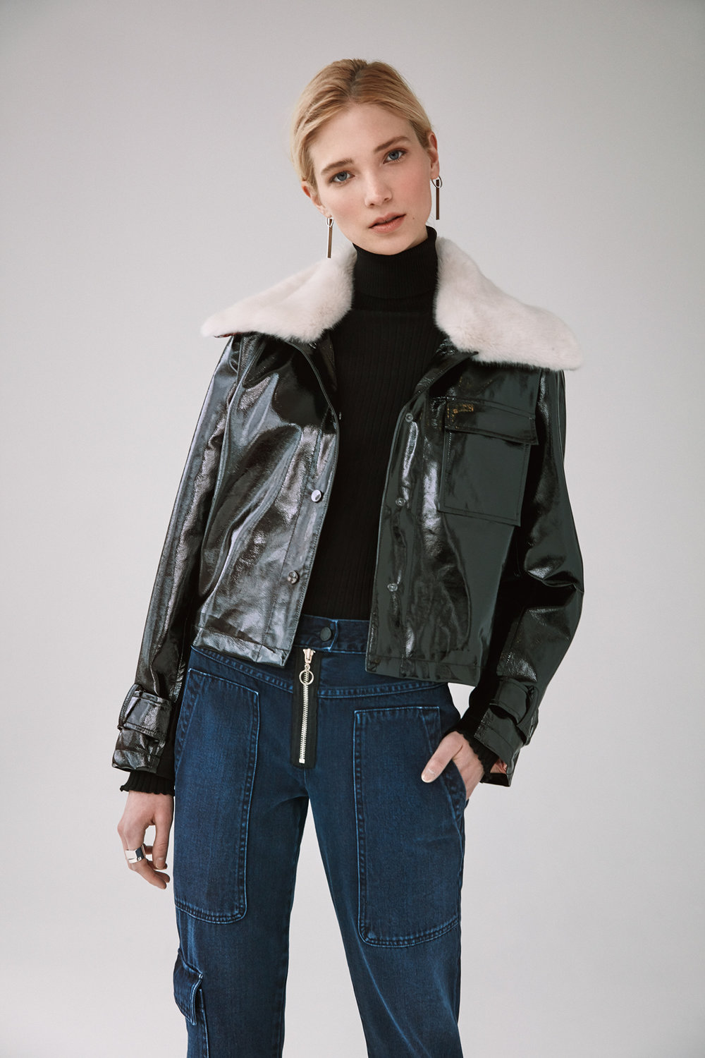 pu cropped jacket with detachable fur collar dark indigo slim utility pants