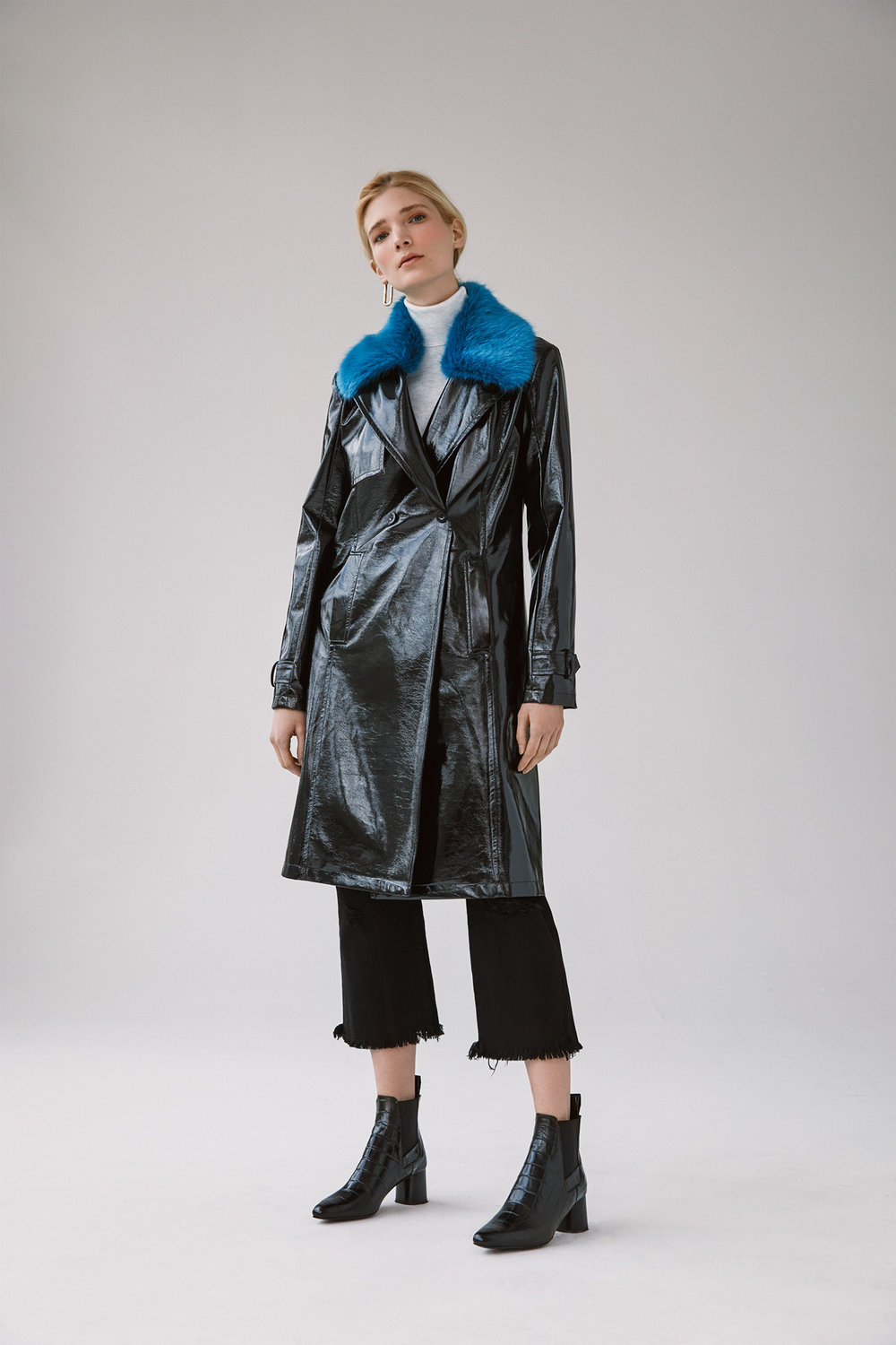 pu double breasted raincoat with detachable fur collar black destroyed wide crop straight jeans