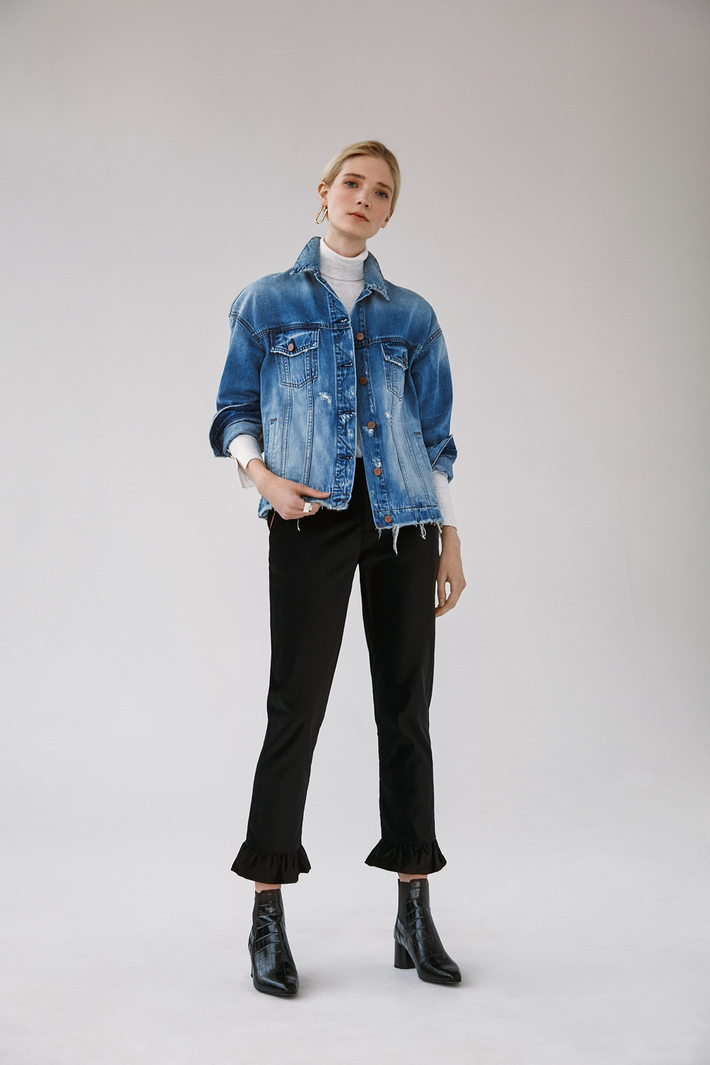 drop shoulder denim jacket velveteen ruffle trimmed crop straight pants
