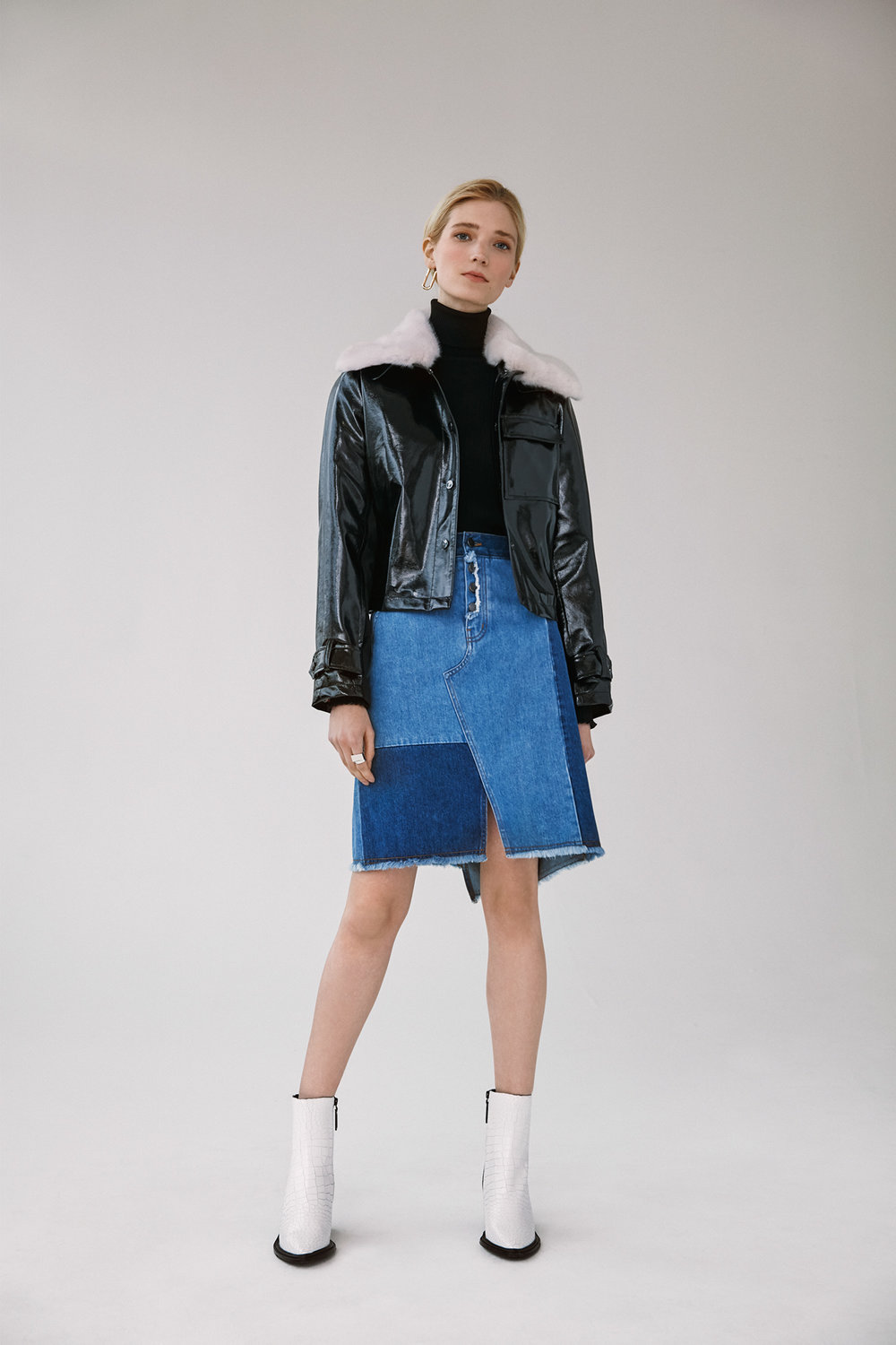 pu cropped jacket with detachable fur collar frayed hem wash block denim skirt