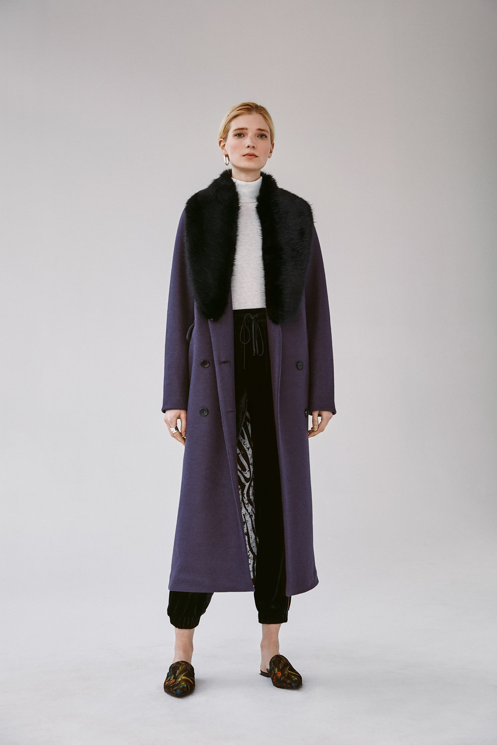Italian boiled wool dbl.  breasted coat with detachable fur collar velvet drawstring jogger pants