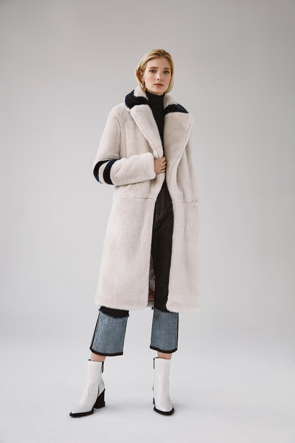 Italian faux fur coat reverse selvedge straight crop jeans