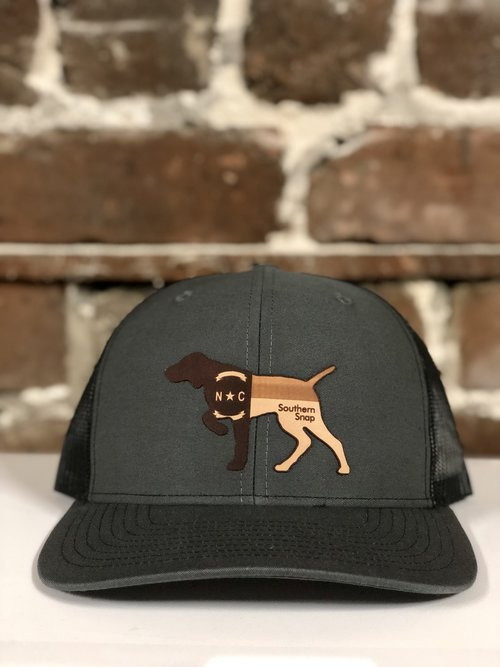 26a6feb9ce0 North Carolina Leather Patch Pointer Trucker Hat (Gray Black). IMG 7090.jpg