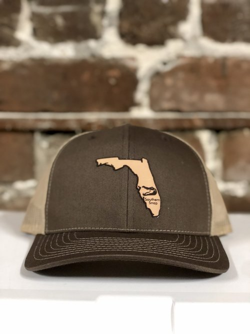 06f2c85dfecee6 Florida State Leather Patch Trucker Hat (Brown/Tan) — Southern Snap Co.
