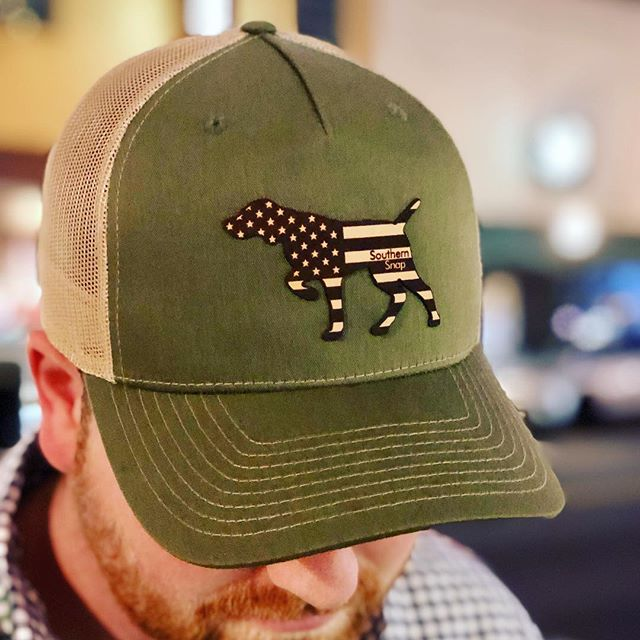 Introducing our USA Leather Pointer hat! This hat turned out great and one of our favorites! Check our all our new hats on our website! . . . . . #leatherpatchhats #usa #pointer #hunting #southernsnap #snapofthesouth