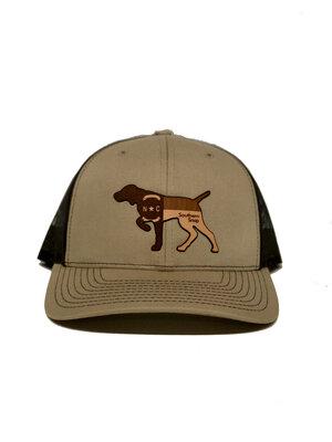 92b74a870fc11 North Carolina Leather Pointer Trucker Hat (Camo) ...