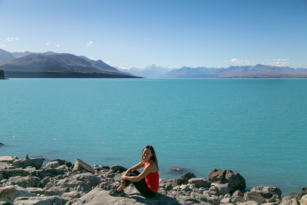 I have wanted to see Aoraki for a very long time. Winding along Lake Pukaki, on the way into the national park, I finally saw her...in the far distance, overlooking the breathtakingly blue glacial waters of the lake. A moment I'll always hold dear.