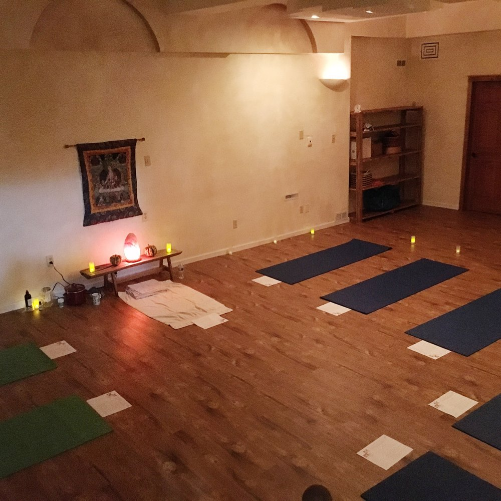 The set up for Ayurvedic Self Care Rituals before we dimmed the lights on the new floors!