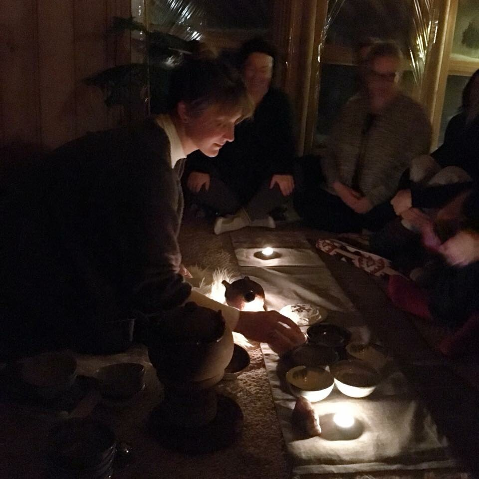 Christin serving an evening tea at our last Winter Yoga & Meditation Retreat at ARC Retreat Center in January 2018.