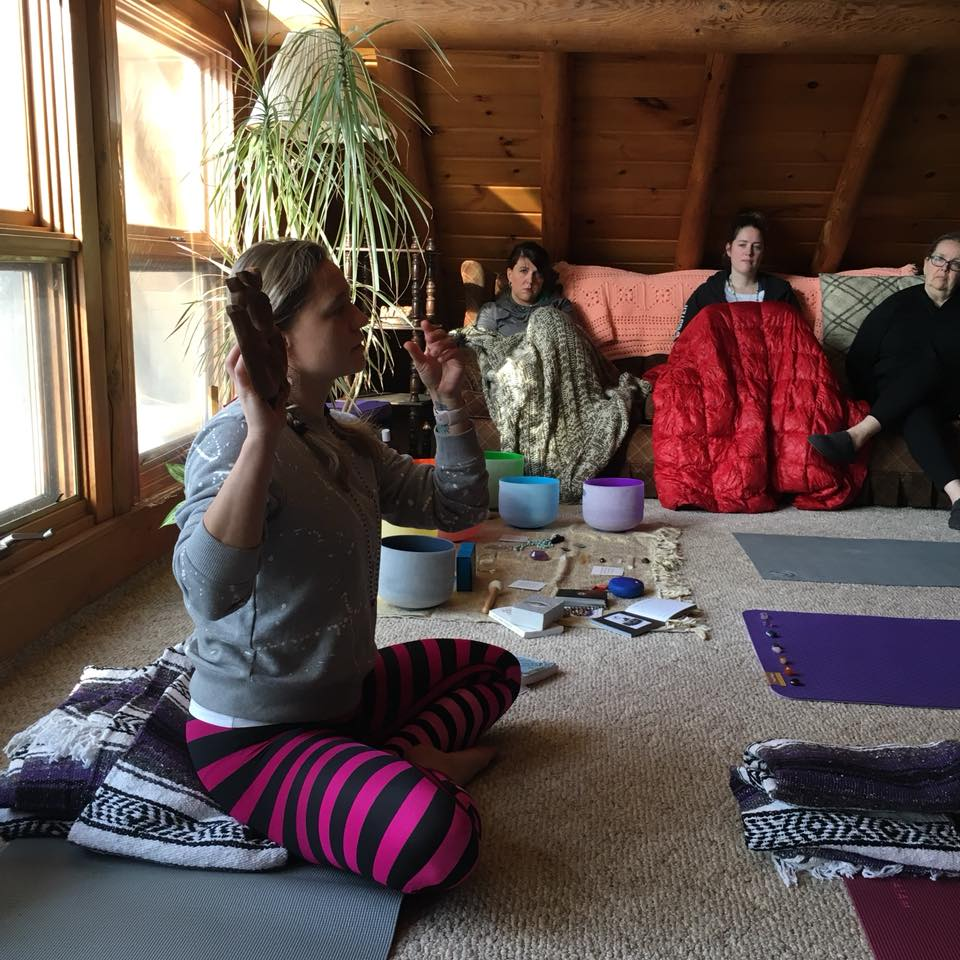 "Sharing about ""Om"" in our group chanting session, ARC Retreat Center, January 2018"