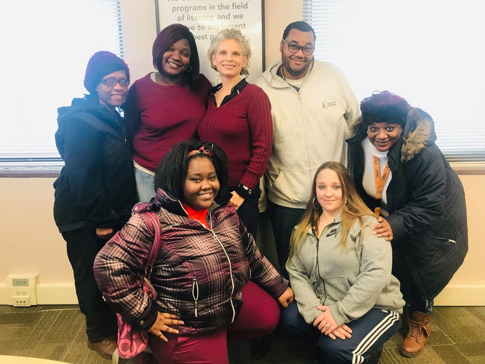 Courtney with students at Seeds of Literacy Cleveland, Ohio 2019