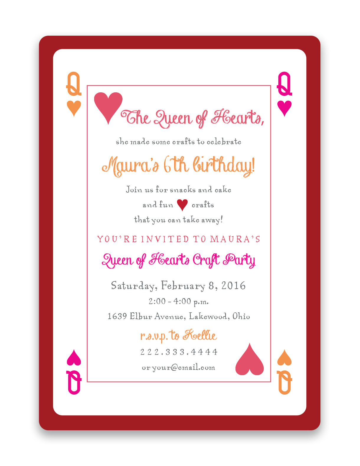 Queen Of Hearts Birthday Invitations Foreword Press Design